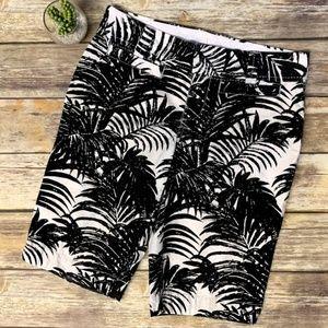 Old Navy Black White Palm Leaf Tree Bermuda Shorts